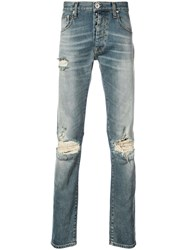 Unravel Project Distressed Straight Jeans Blue