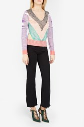 Missoni Women S V Neck Chevron Striped Top Boutique1 Multi
