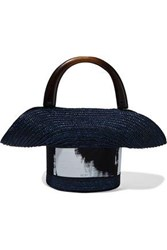 Eugenia Kim Woman Evie Painted Grosgrain Trimmed Straw Tote Midnight Blue