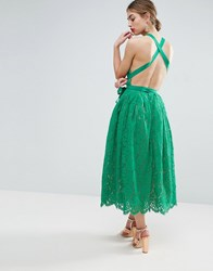Asos Salon Lace Pinny Backless Full Midi Prom Dress Green