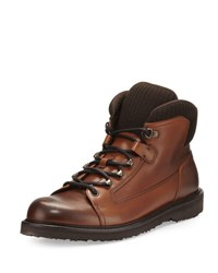 Ermenegildo Zegna Leather Hiking Boot With Wool Trim Cognac