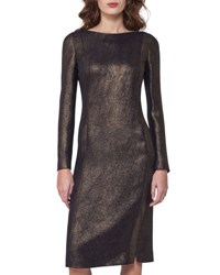 Akris Long Sleeve Metallic Cocktail Dress Black