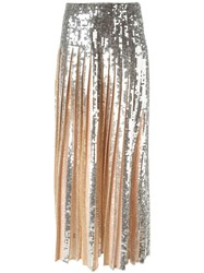 Emilio Pucci Pleated Sequin Long Skirt Metallic