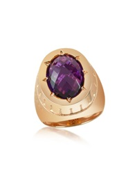 Rebecca Tropezienne Oval Amethyst Hydrothermal Stone Ring Gold