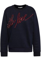 Maje Crystal Embellished Jersey Sweatshirt Midnight Blue