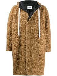 Msgm Textured Hooded Coat Brown