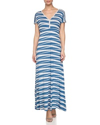Neiman Marcus Zebra Stripe Maxi Dress Beach Blue
