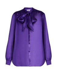 Balenciaga Neck Tie Silk Satin Blouse Purple