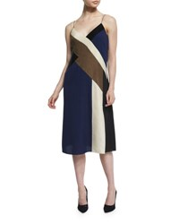 Diane Von Furstenberg Frederica Colorblock Silk Slip Dress Ribbon Rectangles