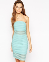 Motel Dee Dee Bandeau Bodycon Dress In Stripe Net Mint
