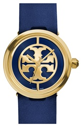 Tory Burch 'Reva' Leather Strap Watch 36Mm Navy Gold