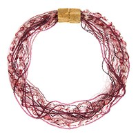 Eclectica Vintage 1970S Gold Plated Glass And Seed Bead Layered Necklace Plum Pink