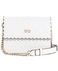 Guess Rayna Mini Flap Signature Crossbody White