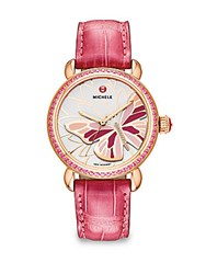 Michele Garden Party Pink Topaz Diamond 18K Rose Goldplated Stainless Steel And Alligator Butterfly Strap Watch Rose Gold Pink