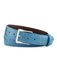 W.Kleinberg Glazed Alligator Belt With 'The Watch' Buckle Sky Blue Made To Order