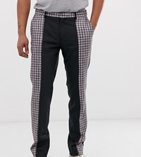 Heart And Dagger Cut Sew Check Trouser In Black