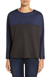Petite Women's Everleigh Colorblock Sweatshirt Navy Black