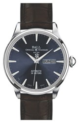 Men's Ball 'Trainmaster Eternity' Leather Strap Watch 40Mm