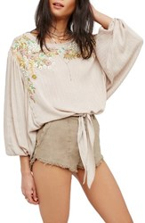 Free People Women's Up And Away Embroidered Peasant Blouse Pink