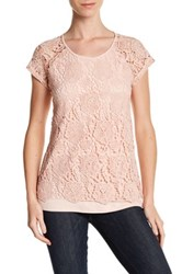 Cable And Gauge Crochet Cap Sleeve Tee Pink