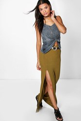 Boohoo Thigh Split Jersey Maxi Skirt Dark Olive