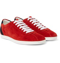 Gucci Suede Tennis Sneakers Red
