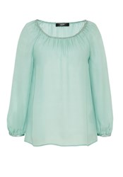 Hallhuber Silk Blouse With Sequin Ribbons Aqua
