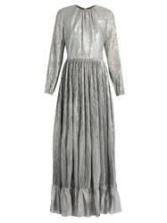 Adam By Adam Lippes Long Sleeved Pleated Maxi Dress Silver