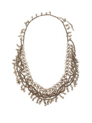 Saint Laurent Bead Embellished Chain Necklace Silver
