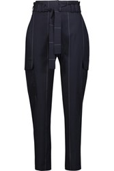 A.L.C. Harrison Striped Stretch Wool Blend Tapered Pants Midnight Blue