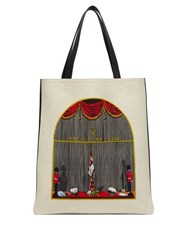 Loewe Queen's Guard Print Canvas And Leather Tote Bag Beige Multi