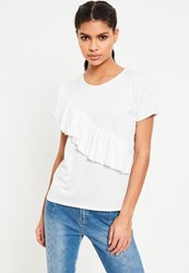 Missguided White Ruffle Front T Shirt Cream