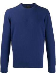 Dell'oglio Crew Neck Cashmere Sweater Blue