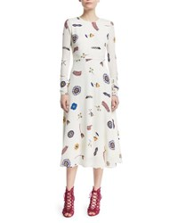 Novis Canaan Long Sleeve Printed Fit And Flare Dress White Pattern