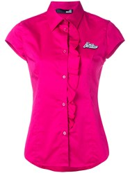 Love Moschino Ruffle Placket Blouse Pink Purple