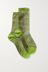 Maria La Rosa Golf Two Tone Tulle Socks Green