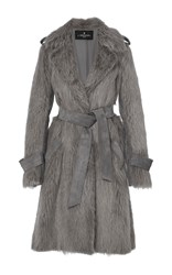 J. Mendel Nutria Trench Coat Grey