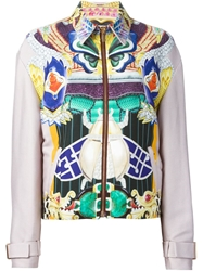 Mary Katrantzou 'Medal' Bomber Jacket Pink And Purple