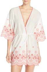 Women's In Bloom By Jonquil Embroidered Cotton Robe White Coral