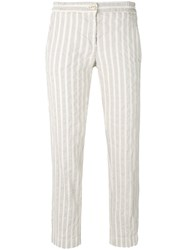 Massimo Alba Striped Straight Trousers Women Cotton Linen Flax 38 Nude Neutrals