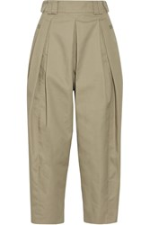 Alexander Wang Cropped Pleated Twill Tapered Pants Mushroom