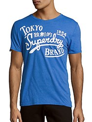 Superdry Roundneck Printed Cotton Tee Royal Marl Blue