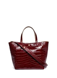 Elizabeth And James 'Eloise' Croc Embossed Leather Tote Red