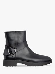 Fitflop Saska Leather Buckle Detail Ankle Boots Black