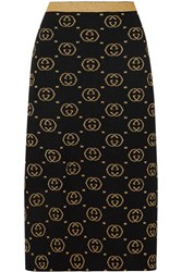 Gucci Metallic Intarsia Wool Blend Midi Skirt Black