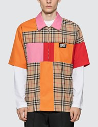 Burberry Colour Block Vintage Check Cotton Shirt Beige