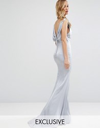 Jarlo Cowl Front Maxi Dress With Fishtail And Button Up Back Pale Silver
