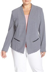 Sejour Plus Size Women's 'Jetsetter' Ottoman Knit Jacket Navy White Jetset Pattern