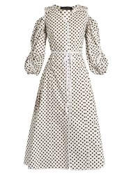 Anna October Polka Dot Cotton Poplin Dress White Black
