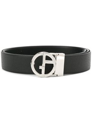 Giorgio Armani Monogram Buckle Belt Black